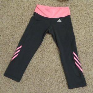 Grey and pink adidas crop leggings